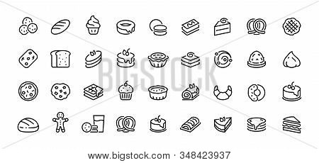 Bread Line Icons. Bakery And Dessert With Croissant Muffin Donut Pizza Sandwich Cookies And Cakes. V