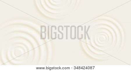 Milk Ripple Background. Cosmetic Cream Or Shampoo With Concentric Circles On Surface. Vector Milk Pr