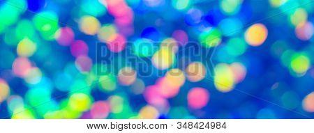 Holiday Colorful Bokeh Blue Lights Background. Festive Backdrop. Social Media Banner Or Header.