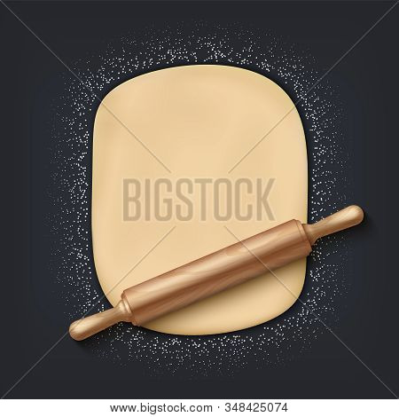 Dough And Rolling Pin. Realistic 3d Bakery Mix With Flour Dough And Wooden Rolling Pin On The Table.