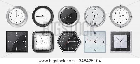 Realistic Clock. Square And Round Metal And Plastic Office Clocks With Black And White Dials And Bez