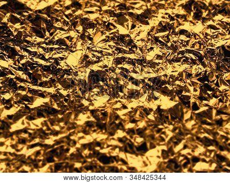 Golden Foil Festive Texture. Abstract Luxury Backdrop. Festive Concept.