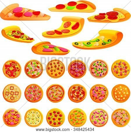 Pizza Icons Set. Cartoon Set Of Pizza Vector Icons For Web Design