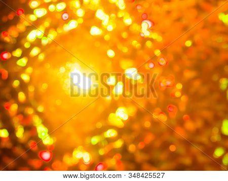 Holiday Colorful Bokeh Orange Lights Background. Festive Backdrop. Design For Your Ad, Poster, Banne
