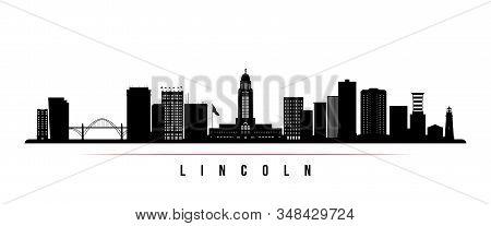 Lincoln Skyline Horizontal Banner. Black And White Silhouette Of Lincoln, Nebraska. Vector Template