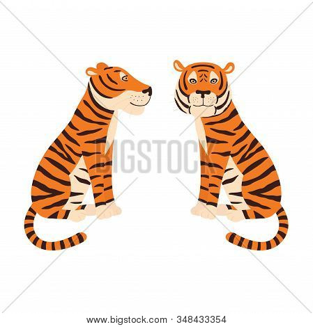 Orange Tiger Sitting. Colorful Frendly Tiger. Side And Front View.