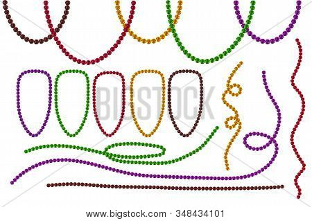 Set Mardi Gras Beads Isolated On White Background. Multi Color Mardi Gras Beads In Traditional Color