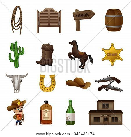 Saloon Icons Set. Cartoon Set Of Saloon Vector Icons For Web Design