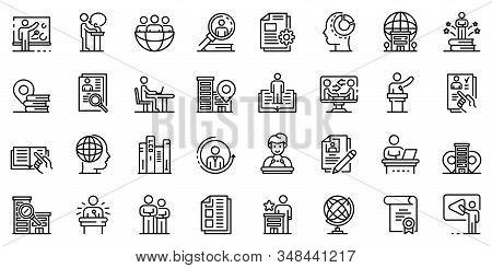 Internship Icons Set. Outline Set Of Internship Vector Icons For Web Design Isolated On White Backgr