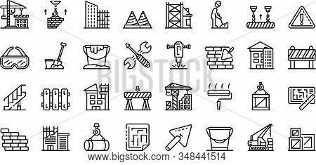Building Reconstruction Icons Set. Outline Set Of Building Reconstruction Vector Icons For Web Desig