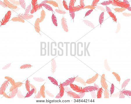 Weightless Pink Flamingo Feathers Vector Background. Plumage Trendy Fashion Shower Decor. Flying Fea
