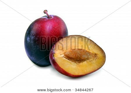 Plums on white, Isolated
