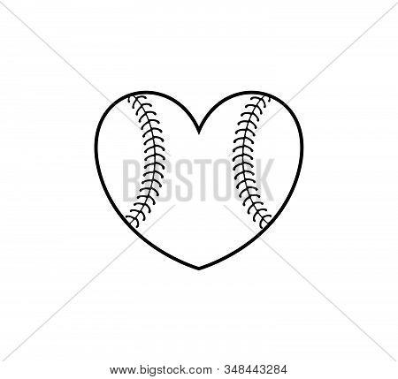 Heart Shape Ball Baseball Softball Stuff Vector Logo Graphic Design