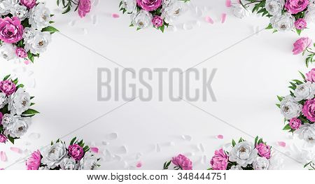 White Background With White And Purple Peonies And Flower Petals From Top View. Wedding Invitation C