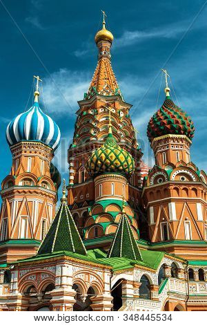 St Basil`s Cathedral On Red Square, Moscow, Russia, Europe. It Is A Famous Landmark Of Moscow. Saint