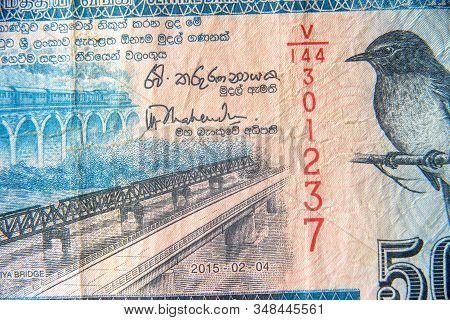 Sri Lanka Currency Close Up. Macro View Of 50 Rupees Bill. Detail Of Srilankan Banknote With Bridge