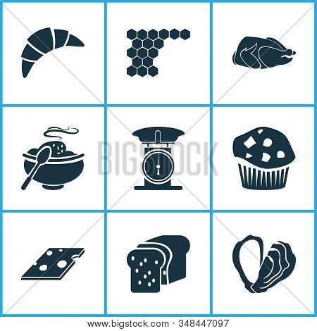 Meal Icons Set With Loaf, Hot Meal, Turkey Bird And Other Weight Elements. Isolated Vector Illustrat