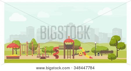 Kids Playground In City Park Flat Illustration. Stock Vector. Playground Design With Slide, Swing, C