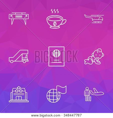 Travel Icons Line Style Set With Passport, Gangway, Hotel And Other Citizenship Elements. Isolated V