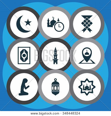 Religion Icons Set With Church, Muslim Female, Ramadan And Other Masjid Elements. Isolated Vector Il