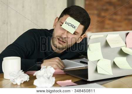 Overworked Man Having A Nap Sleeping At Laptop With Sticky Notes Everywhere, Tired Of Office Multita