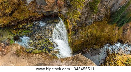 Panoramic Top View Of The 97-foot Tumalo Waterfall In Tumalo Creek Near Bend, Oregon, Usa