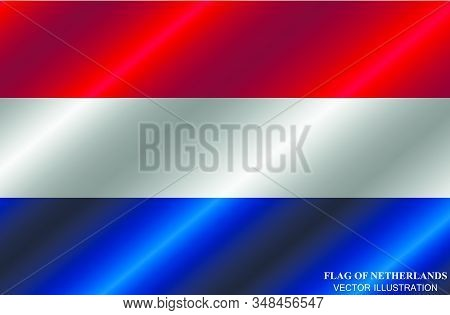 Flag Of Netherlands With Folds. Happy Netherlands Day Background. Bright Illustration With Flag. Vec
