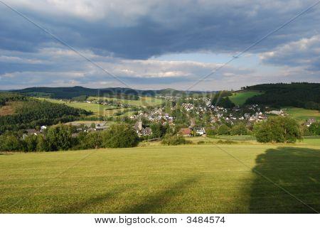 German Small Town Of Niederdielfen Near Siegen