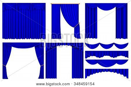 Realistic Blue Curtains Set With Isolated Images Of Luxury Curtains With Various Shapes. Blue Luxury