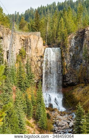 View Of The 97-foot Tumalo Falls In Tumalo Creek Near Bend, Oregon, Usa