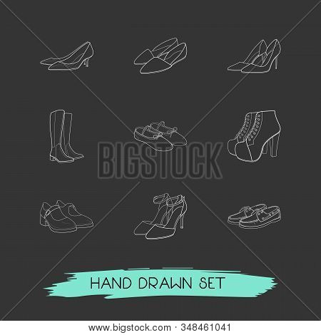 Set Of Shoe Types Icons Line Style Symbols With Dorsay Shoes, Ballet Shoes, Kitten Heel Shoes And Ot