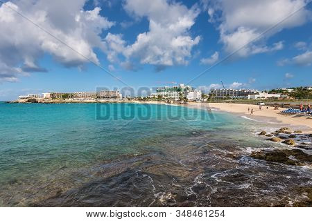 Simpson Bay, Saint Maarten - December 17, 2018: Almost Empty And Even Without Airplanes Maho Beach I