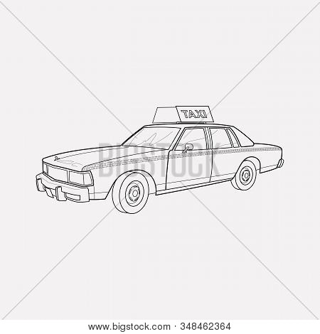 Taxi Cab Icon Line Element. Illustration Of Taxi Cab Icon Line Isolated On Clean Background For Your