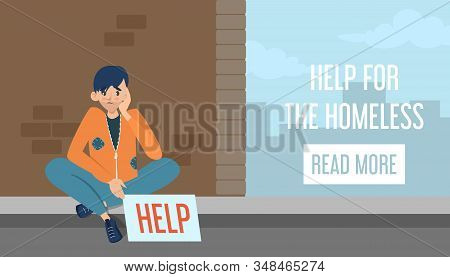 Help For Homeless Web Banner Design. Poor Man In Dirty