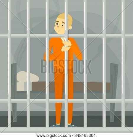 Sad Man Standing In Prison. Person In Orange Clothing Locked In The Cell. Jail Punishment. Man Impri
