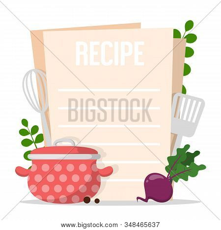 Recipe Banner Template Vector Isolated. Empty Space