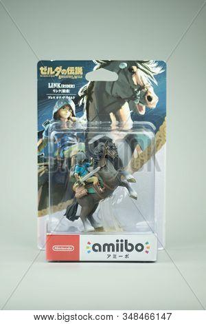 Bangkok, Thailand - February 2, 2020. Figure Amiibo Game Of Link Zelda For Nintendo Switch. Game The