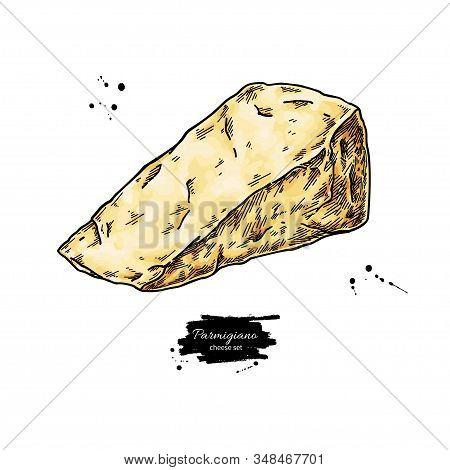 Parmigiano Reggiano Cheese Drawing. Vector Hand Drawn Food Sketch. Triangle Slice Of Parmesan.