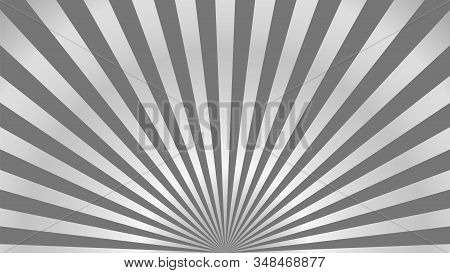 Sun Rays Background. Gray Radiate Sun Beam, Burst Effect. Sunbeam Light Flash Boom. Template Poster