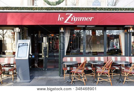 Paris, France-january 19 , 2020 : Cafe Le Zimmer, A Brasserie Just Off The Seine On The Place Du Cha
