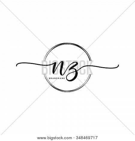 Nz Initial Handwriting Logo With Circle Template Vector.