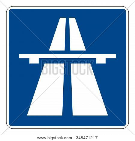 Autobahn. Road Sign Of Germany. Europe. Vector Graphics.