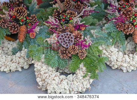 Pinecone And Moss Wreath Natural Decoration For Holidays