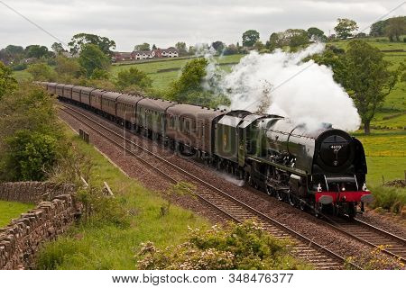 Lazonby, England - June 2: Preserved Steam Locomotive 46233 Duchess Of Sutherland Heads The Hadrian