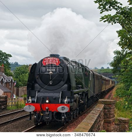 Lazonby, England - July 28: Preserved Steam Locomotive 46233, Duchess Of Sutherland, Heads The Cumbr