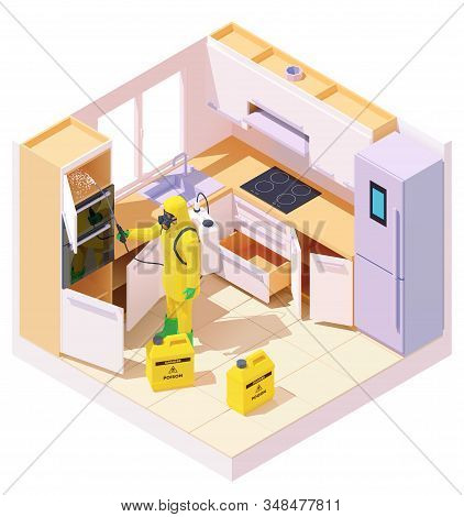 Vector Isometric Pest Control Worker Spraying Pesticides Or Insecticide On Cabinet In Kitchen Room.