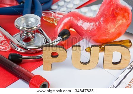 Pud Medical Gastroenterology Abbreviation Or Acronym Of Peptic Ulcer Disease, Common Disease Of Stom