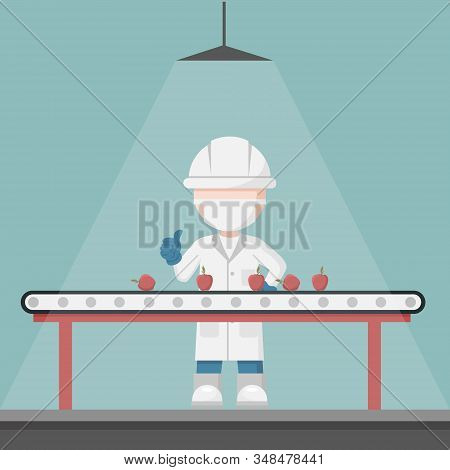 Quality Control Supervisor In A Fruit Selection Production Line. Food Conveyor Belt