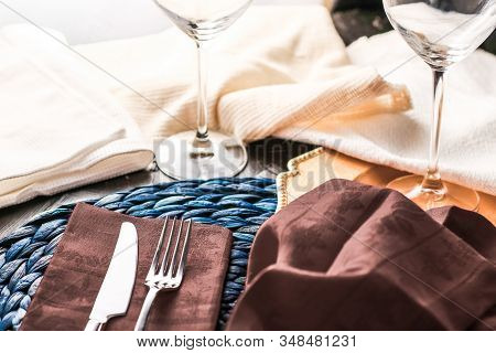 Holiday Table Setting With Brown Napkin And Silver Cutlery, Food Styling Props, Vintage Set For Wedd