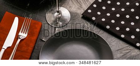 Empty Tableware With Brown Napkin, Food Styling Plating Props, Deluxe Set For Wedding, Event, Date,